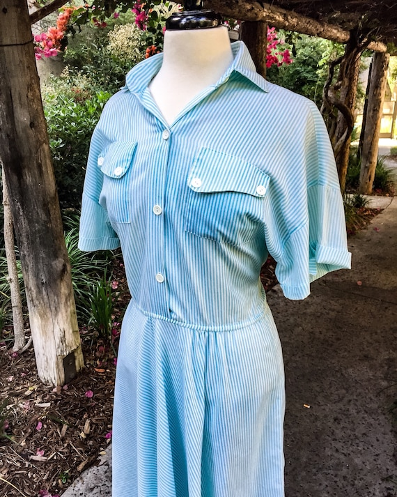 1960s/70s Volup Striped Shirt Dress - image 2