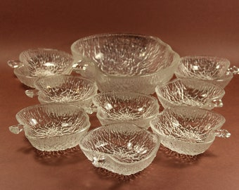 9-part set of glass bowl with bowl 70s made in Germany