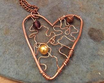 Heart shaped Copper Pendant