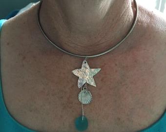 Starfish &Shell,Seaglass Pendant