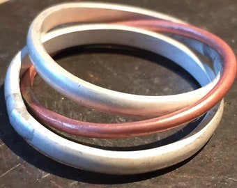 Copper and Silver Ring Russian Wedding Ring Small business Handmade rings 3 bands 2 silver 1 Copper D wire individually  made