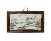 Chinese Rectangular Wood Porcelain Water Mountain Scenery Wall Plaque cs4511E