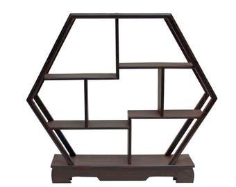 Gray Brown Wood Hexagon Small Table Top Curio Display Easel Stand Cs3703E