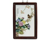 Chinese Rectangular Rosewood Porcelain Flower Birds Scenery Wall Plaque cs4146E