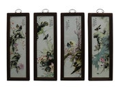 Chinese Color Porcelain Flower Birds Wood Wall Panels Set cs4984E