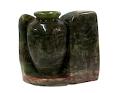 Hand-carved Green Marble Stone Accent Display Vase ws197E