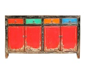 Chinese Distressed Red Multi-Color Drawers Sideboard Table Cabinet cs5917E
