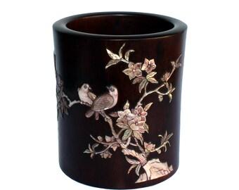 5.4 Tall Rosewood brush pot of tree/&birds carving M70