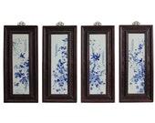 Chinese Blue White Porcelain Flower Birds Scenery Wall Panel Set cs4118E