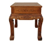 Chinese Oriental Huali Rosewood Flower Motif Tea Table Stand cs4578E