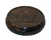 Quality Mid Size-C Round Shape Carved Dragon Solid Rosewood Display Stand n335E