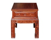 Chinese Oriental Huali Rosewood Flower Motif Tea Table Stand cs4594E