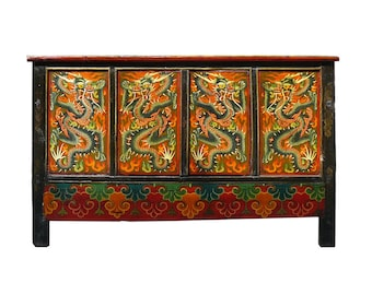 Chinese Tibetan Dragon Graphic Side Table Cabinet Mh308E