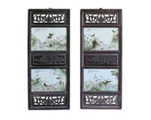 Chinese Vintage Pair Porcelain Wood Wall Panels Art cs4337E