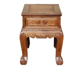 Chinese Oriental Huali Rosewood Flower Motif Tea Table Stand cs4596E