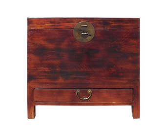 Chinese Brown Stain Moon Face Trunk Storage Chest Cs1351E
