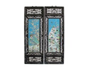 Pair Carved Chinese Huali Turquoise Blue Porcelain Scenery Wall Panels cs4379E