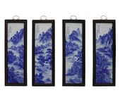 Chinese Blue White Porcelain Water Mountain Scenery Wall Panel Set cs4983E