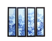 Chinese Blue White Porcelain Scenery Wall Panel Set by Zheng Riqian cs4833E