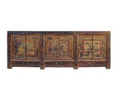 Chinese Distressed Brown Graphic Scenery Sideboard Cabinet cs5918E