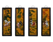 Chinese Porcelain quot Eight Horse quot 4 Pieces Wall Panel Set vs846e