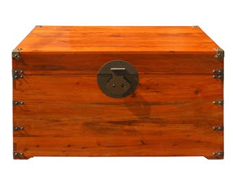 Oriental Chinese Brown Wood Moon Face Hardware Trunk Table Cs3160E