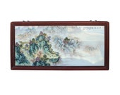 Chinese Rectangular Rosewood Porcelain Mountain Water Scenery Wall Plaque cs4188E