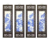 Chinese Mountain River Porcelain Blue White Painting Wall Panel Set cs5031E