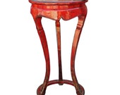 Chinese Distressed Red Tall Round Plant Stand Pedestal Table cs3976E
