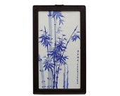 Chinese Rectangular Blue White Porcelain Bamboo Scenery Wall Plaque cs5058E