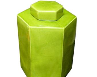 Chinese Hand Glazed Light Olive Green Porcelain Hexagon Jar vs716E