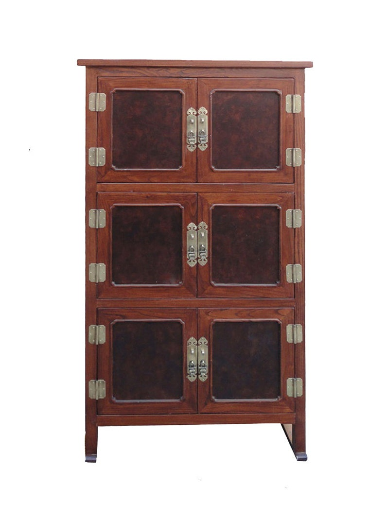 Asian Korean Style Burl Wood Veneer Storage Bookcase Cabinet Wk2497e