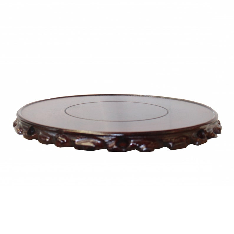 Chinese Brown Wood Handmade Round Table Top Stand Display Easel 5.75 ws818CE