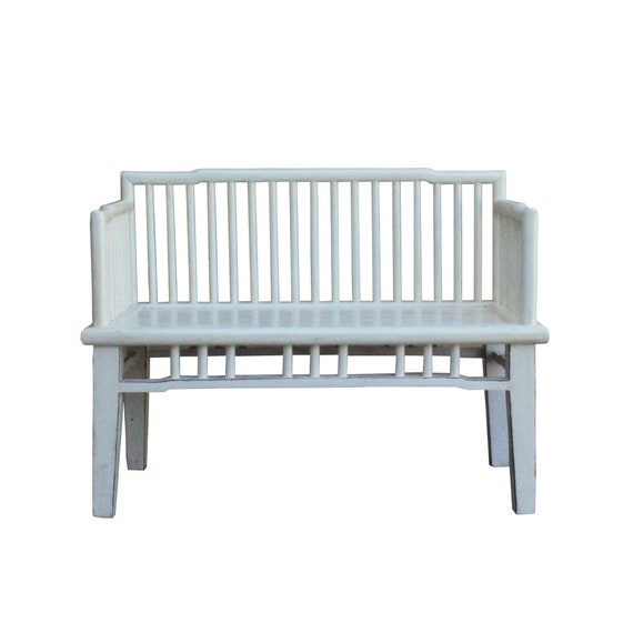 Incredible Distressed White Lacquer Bar Panel Double Seat Bench Cs4452E Evergreenethics Interior Chair Design Evergreenethicsorg