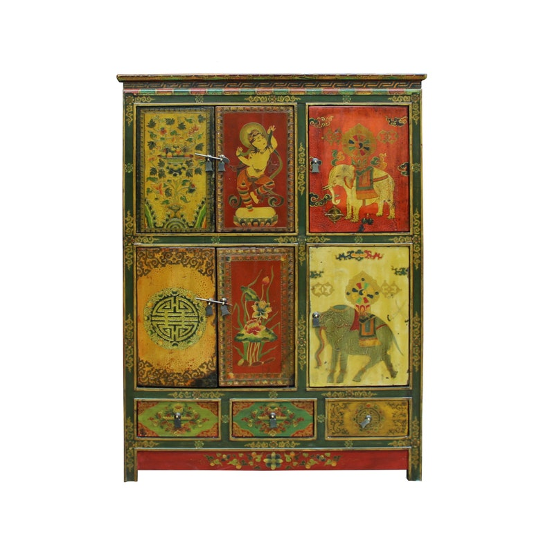 Chinese Tibetan Jewel Flower Elephant Deity Graphic Tall Credenza Cabinet cs4913E