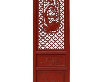 Chinese Red Paint Geometric Flower Bird Accent Narrow Floor Panel Headboard cs3568E