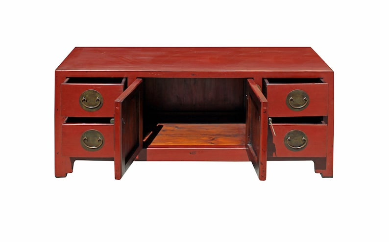 Chinese Oriental Zen Distressed Red Console Sideboard TV Cabinet cs3925E