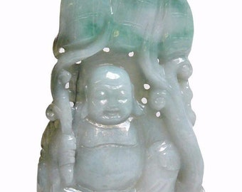 Chinese Jade Carved Happy Buddha Ornament Display s2237E