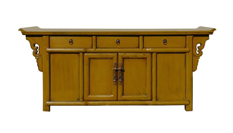 La Credenza Vertaling : Chinese mustard yellow green low credenza tv console cabinet etsy