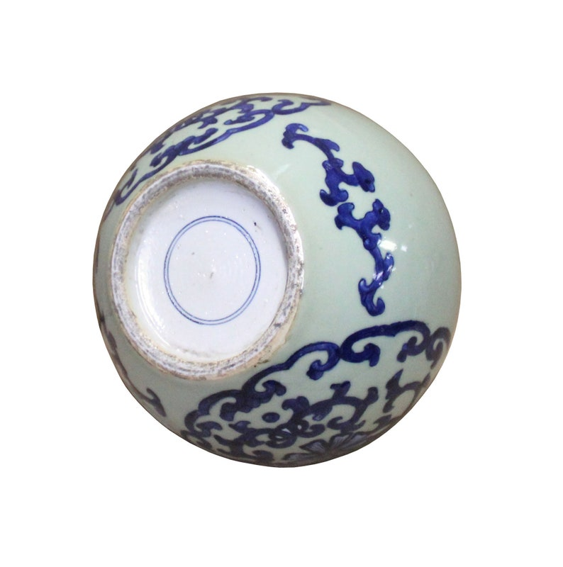 Chinese Oriental Ceramic Light Celadon Green Blue Graphic Vase cs4108E