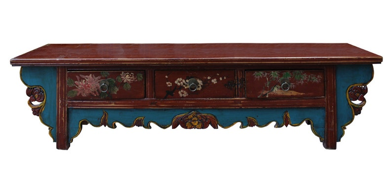Chinese Vintage Floral Graphic Low Altar Shrine Offer Table cs2348E