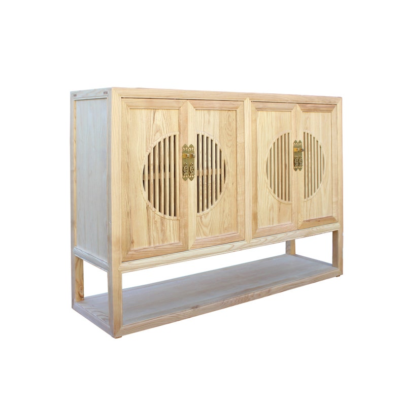 Light Natural Raw Wood Shutter Doors Bookcase Credenza ...