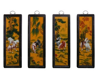 """Chinese Porcelain """"Eight Horse"""" 4 Pieces Wall Panel Set vs846e"""