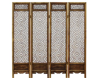 Chinese Vintage Finish Geometric Pattern Wood Panel Screen cs3143E