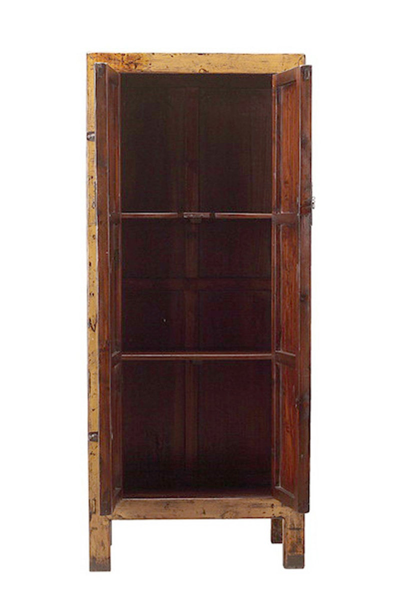 Chinese Vintage Hardware Yellow Brown Tall Stoarge Cabinet cs1293E