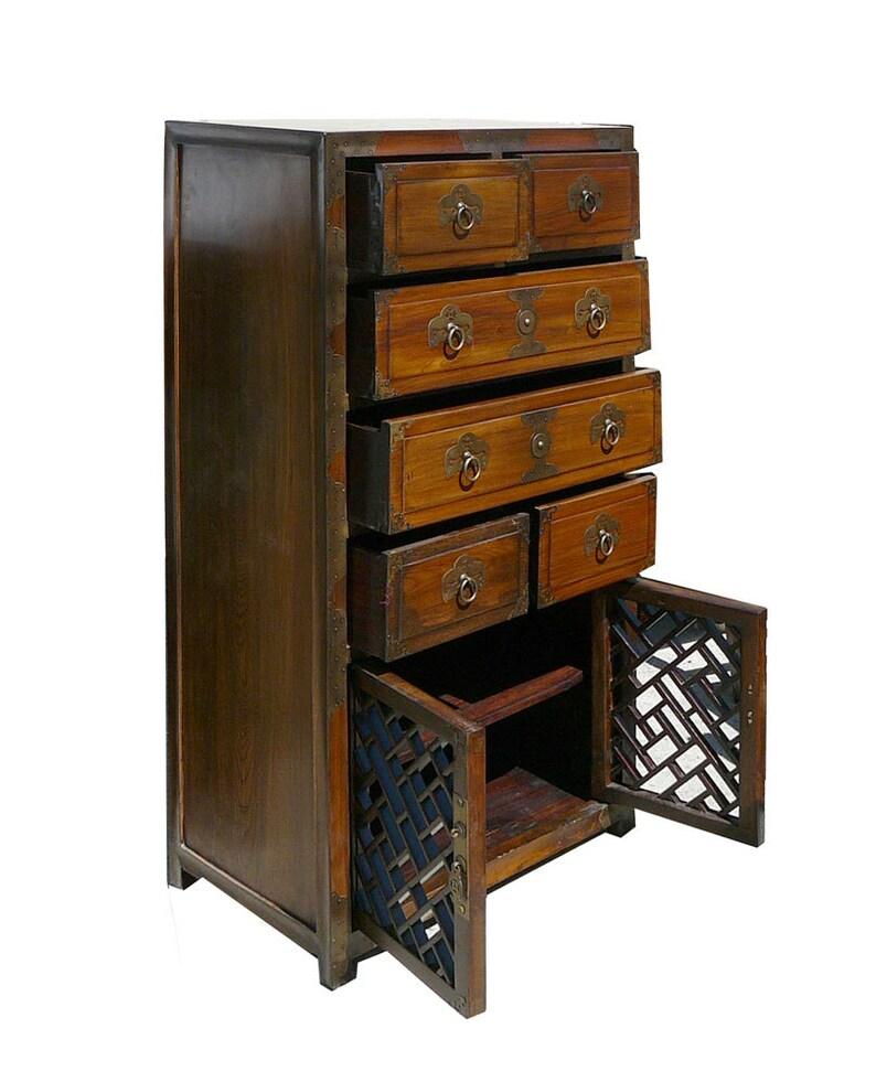 Korean Brass Hardware Accent Dresser Storage Side Cabinet wk2905E