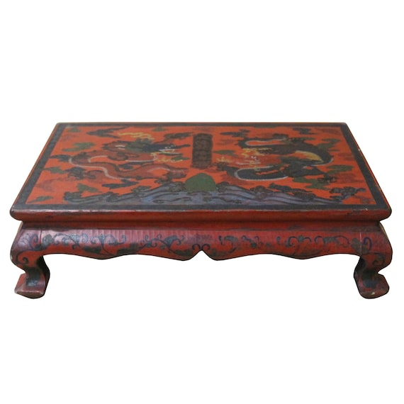 THY COLLECTIBLES Burgundy Lacquer Wooden Stand For Large Oriental Decorative...