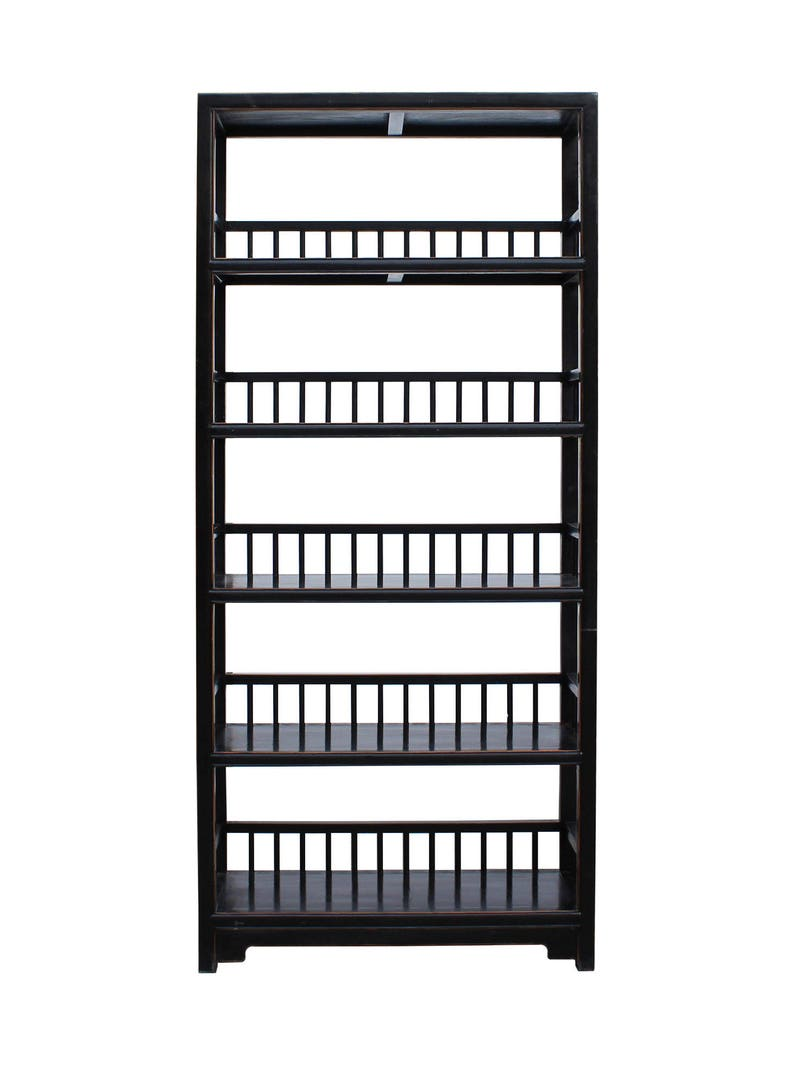 Chinese Distressed Black 5 Shelves Bookcase Display Cabinet Cs3479e