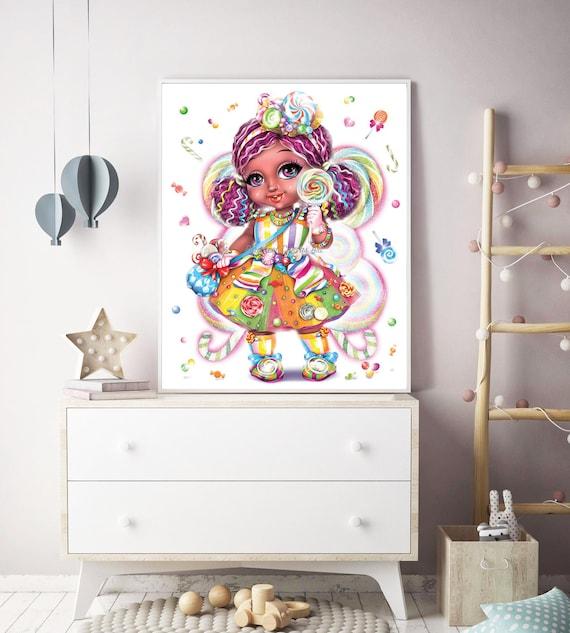 Fairy Wall Art African American Girl Wall Art Fairy Wall Decor Candy Girl Room Wall Decor Sweet Tooth Fairy Nursery Decor Fairy Illustration