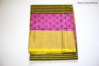 Olive Green and Purple Color Printed Design Uppada Pure Silk Saree - A1060